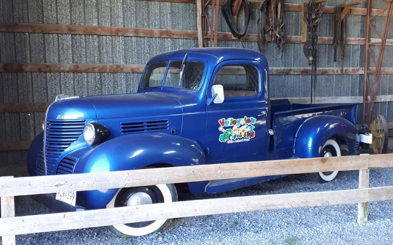 vintage blue pickup truck