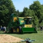 combine harvester in play area