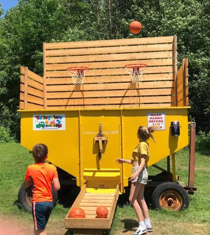 kids playing at basketball wagon